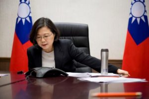 Taiwan's President Tsai Ing-wen speaks on the phone with U.S. president-elect Donald Trump at her office in Taipei, Taiwan, in this handout photo made available December 3, 2016. Taiwan Presidential Office/Handout via REUTERS