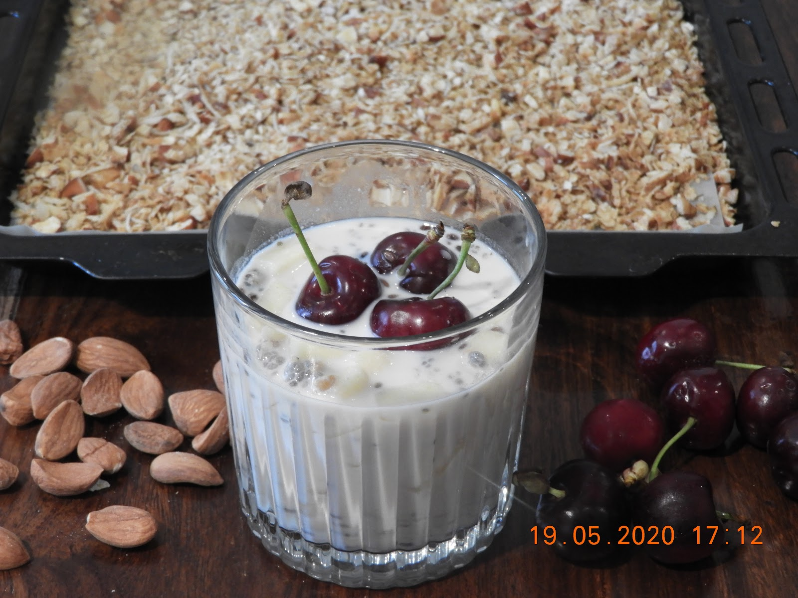 Baked Coconut Oats with Almond Milk & Fruits - American cuisine