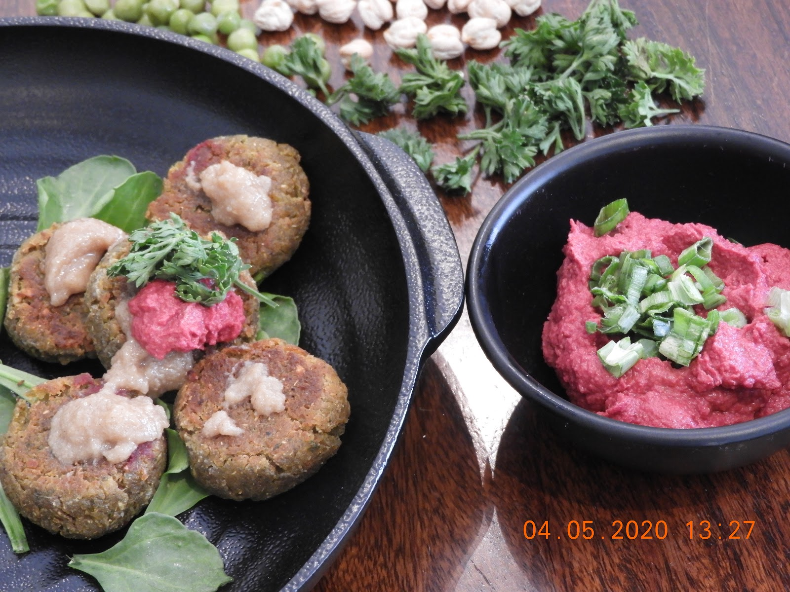 Smoked Sweet Potato Falafel with Beetroot Hummus - Middle Eastern Cuisine at Kitchen by Nidhi