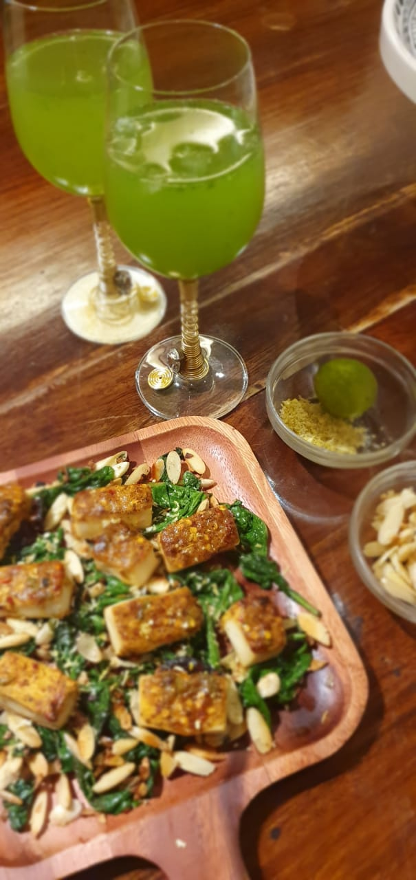 Tofu Paneer with Spinach - Asian cuisine at Kitchen by Nidhi