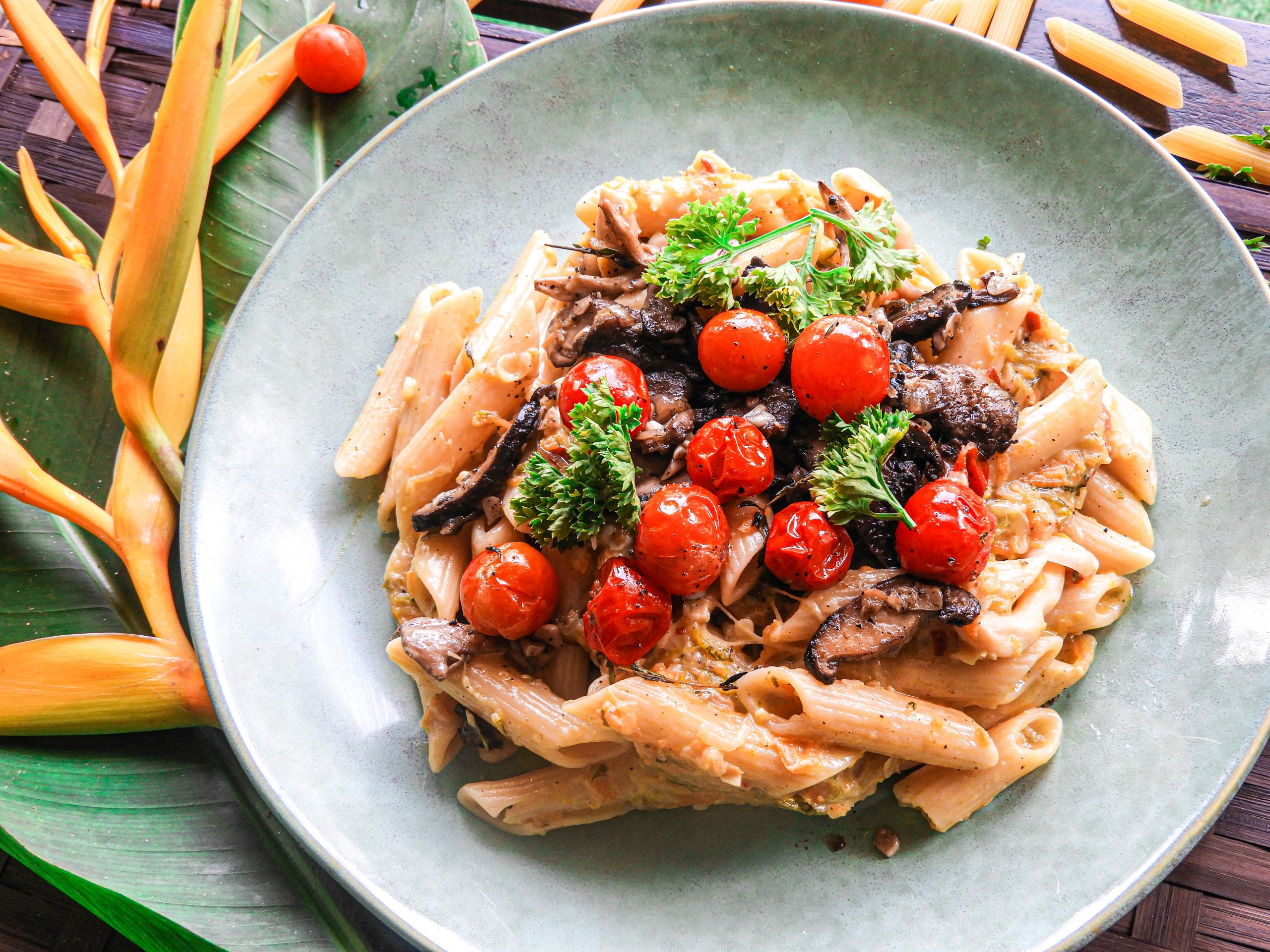 Creamy Lemon Vegetable Pasta with Grilled Mushrooms & Cherry Tomatoes