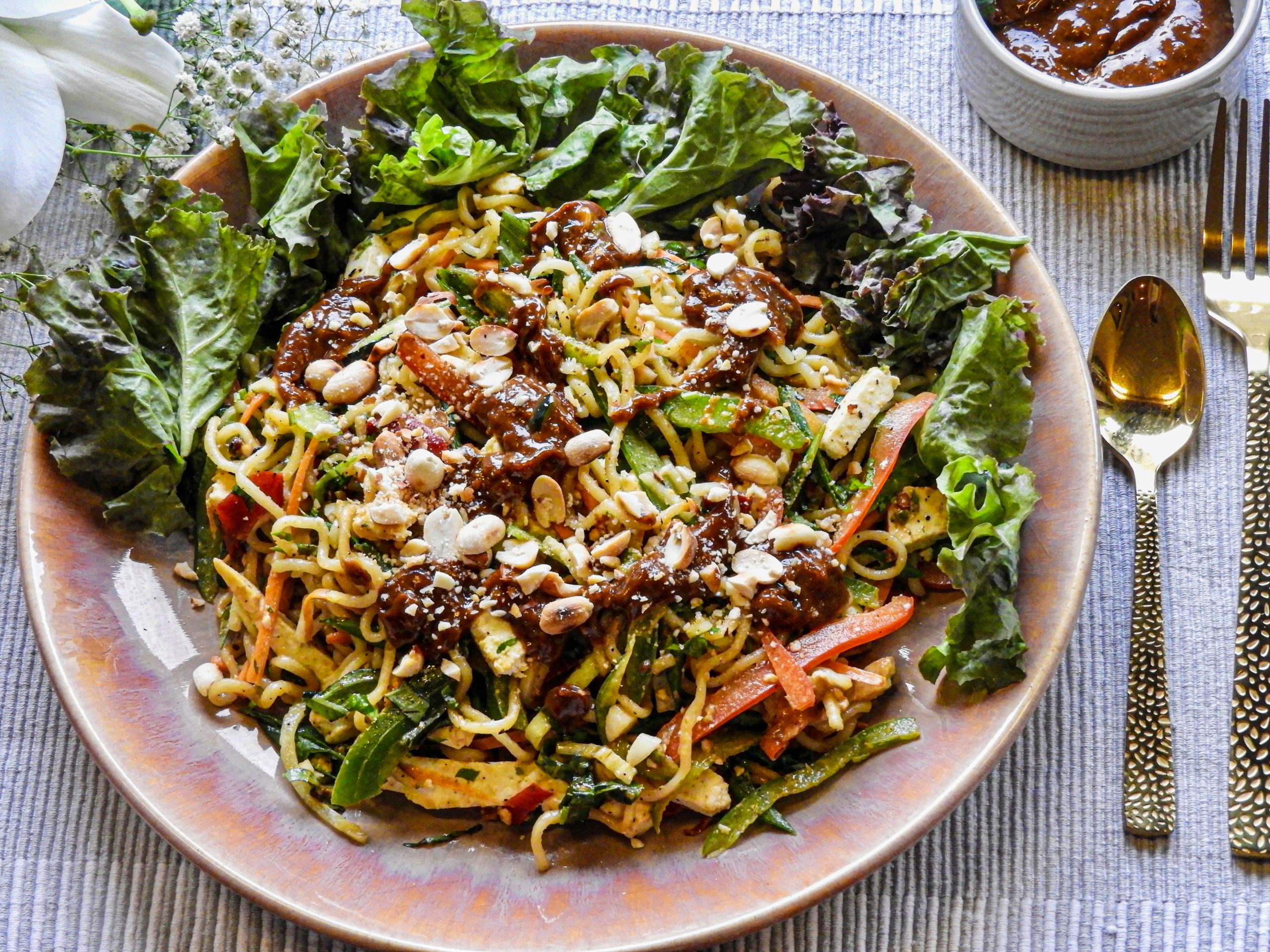 Ramen Noodle Vegetable Salad with Jalapeno Peanut Butter Dressing - Asian Cuisine at Kitchen by Nidhi