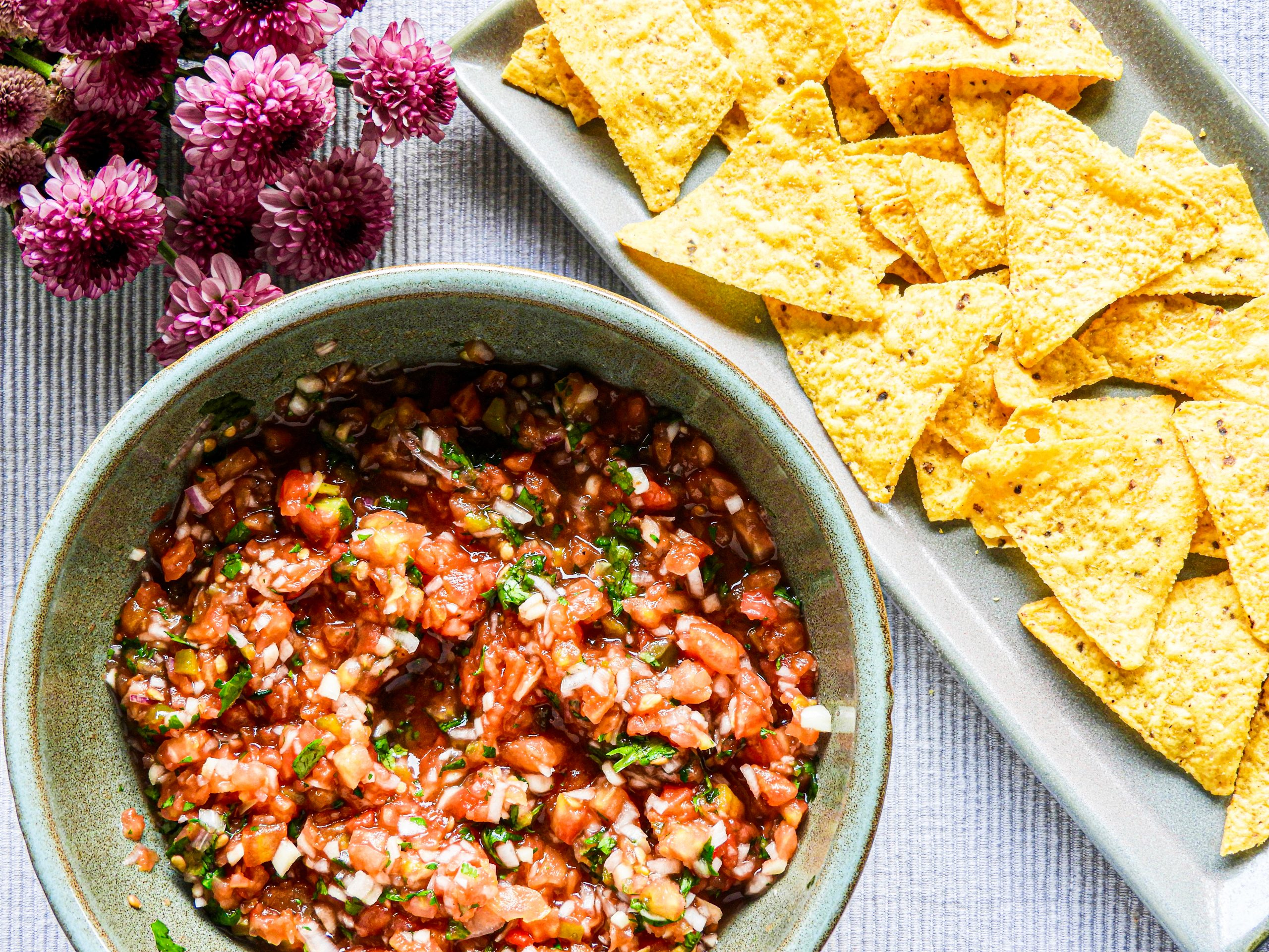 Tomato Salsa Dip with Nachos - Mexican Cuisine at Kitchen by Nidhi