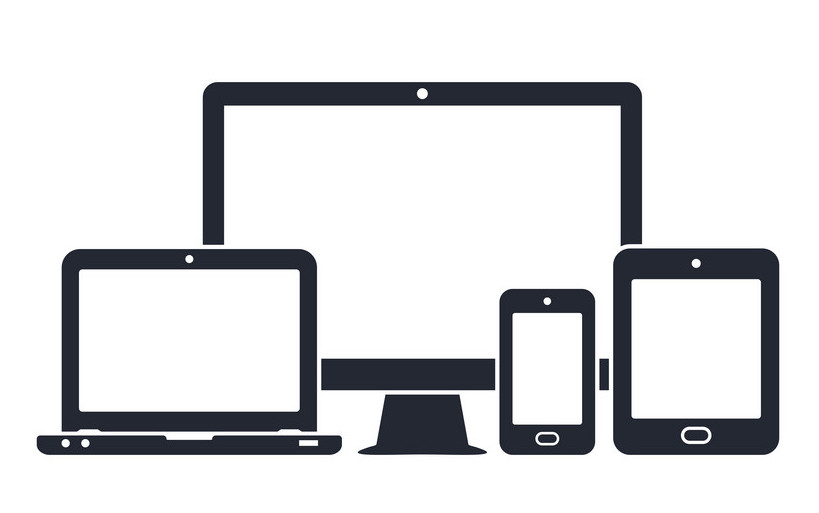 Device icons - desktop computer, laptop, smartphone and tablet. Vector illustration