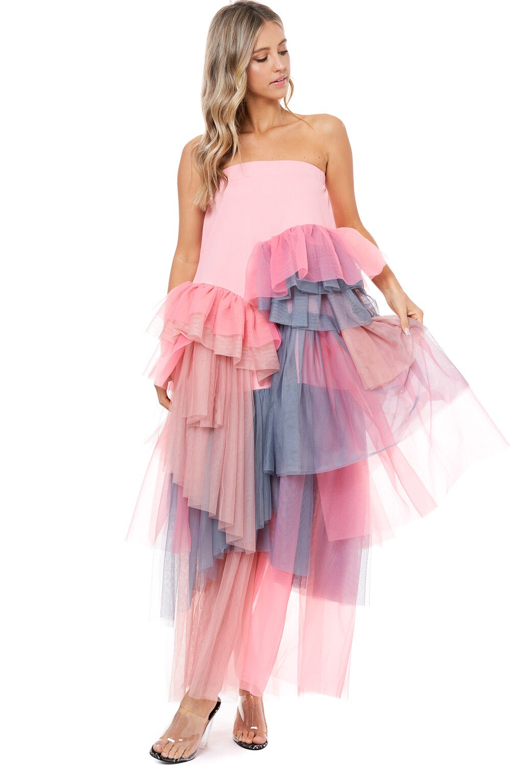 Pink Layered Tulle Dress