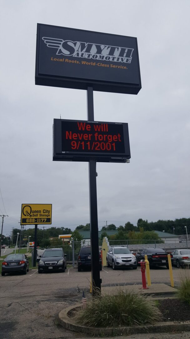 Pylon Sign with LED Digital Message Board