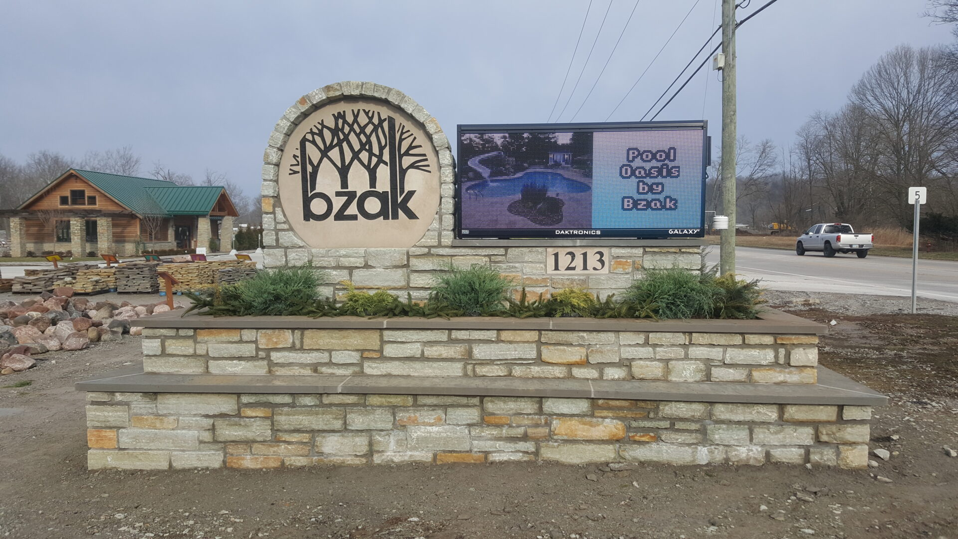 LED Message Board within a rock fabricated sign