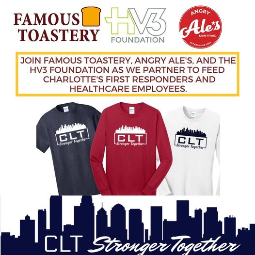 Famous Toastery joins HV3 Foundation to benefit First Responders and Healthcare Workers in the Charlotte Area