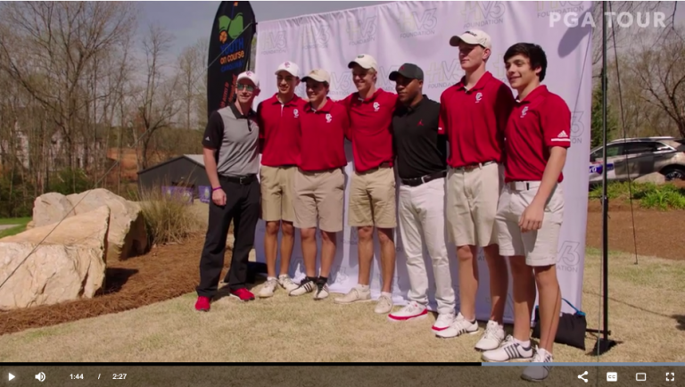The PGA Tour films a video about Harold Varner III and the junior golf outing he helped start Apr 30, 2019