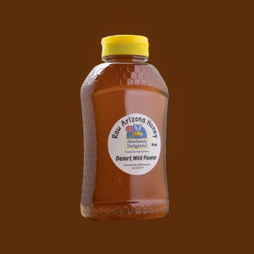 16oz Plastic Hourglass Jar with Desert Wild Flower Honey 2