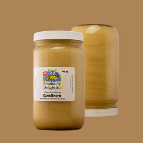 Two 46oz Jars of Camelthorn honey, one is upside down