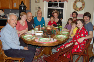 Clockwise the patriarch, Gabrielle, Sean (son in law) Jeannine, Katie (wife of grandson David) with Madison, David with Lily, MarkII with MarkIII, Tejah (Mark's fiancee)