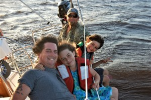 """A sail on Gary Pione's """"Moselle"""" on the St. John's River with Dan, Ya Ya, Bo and their dad RoBo."""
