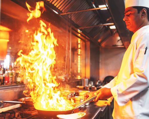 Professional, Chef, Cooking, Restaurant, Dubai - Professional Chef in the Restaurant Kitchen