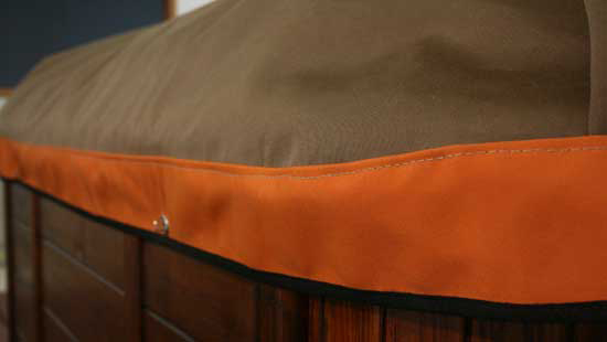 SpaCap Swim Spa Covers with contrasting skirt