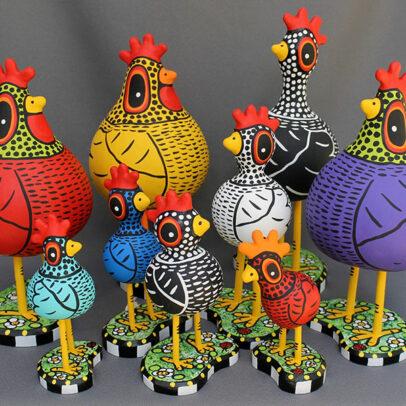 Those Kooky Chickens folk art