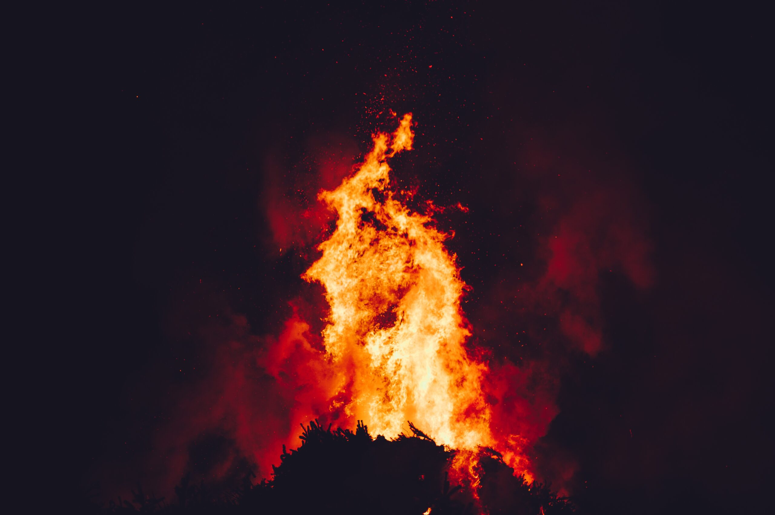 wildfire burning flames
