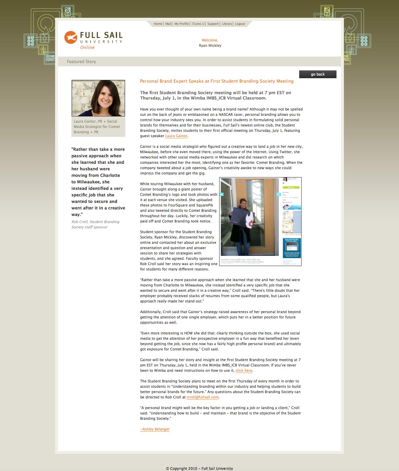 Presenting: Laura Gainor on Personal Branding for Full Sail University