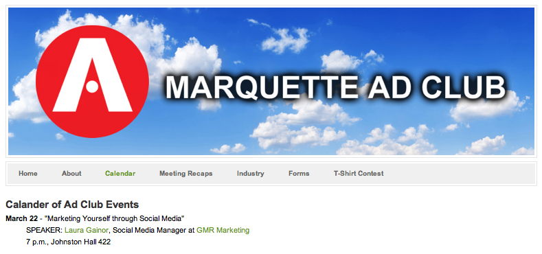 Presenting for Marquette Ad Club: Marketing Yourself with Social Media