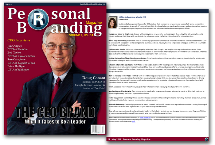 Personal Branding Magazine Feature: 10 Tips to Becoming a Social CEO