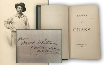 """1872 """"Leaves of Grass"""", Walt Whitman Signed Presentation Copy (Sold for $3,400)"""