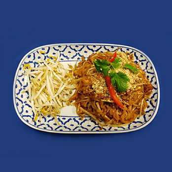Our famous fried rice noodles with chicken, bean sprouts, eggs and peanuts