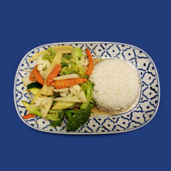 Stir-fried mixed vegetables (beans sprout, broccoli, carrot, cauliflower, nappa and zucchini) with light garlic sauce