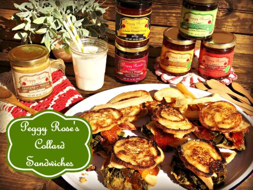 Peggy Rose's Peppy Jelly Collard Sandwiches