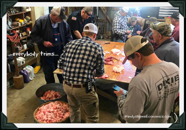 everybody trims scraps for sausage
