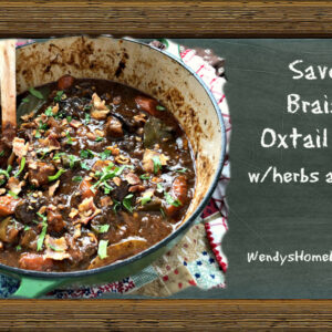 Savory Braised Oxtail Stew with herbs and prunes