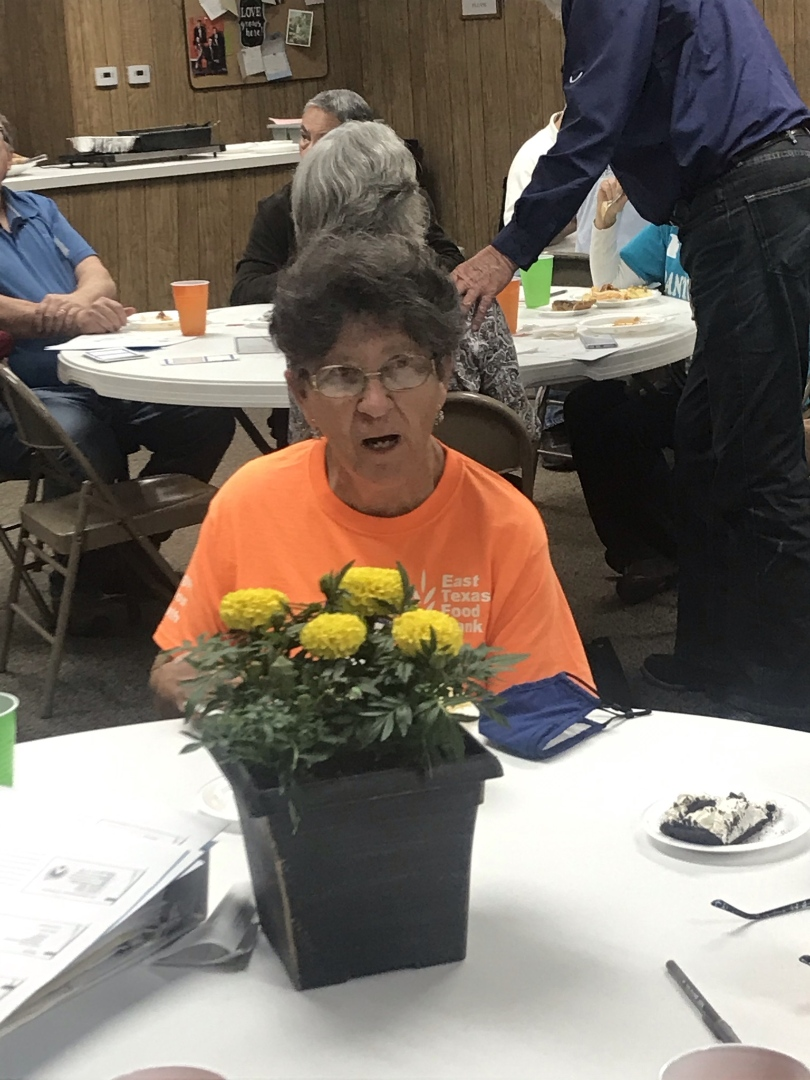An Old Woman Sitting at a Dining Table