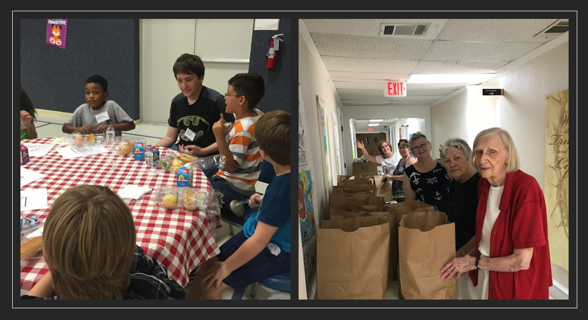 Children and Seniors Being Given Food Packages