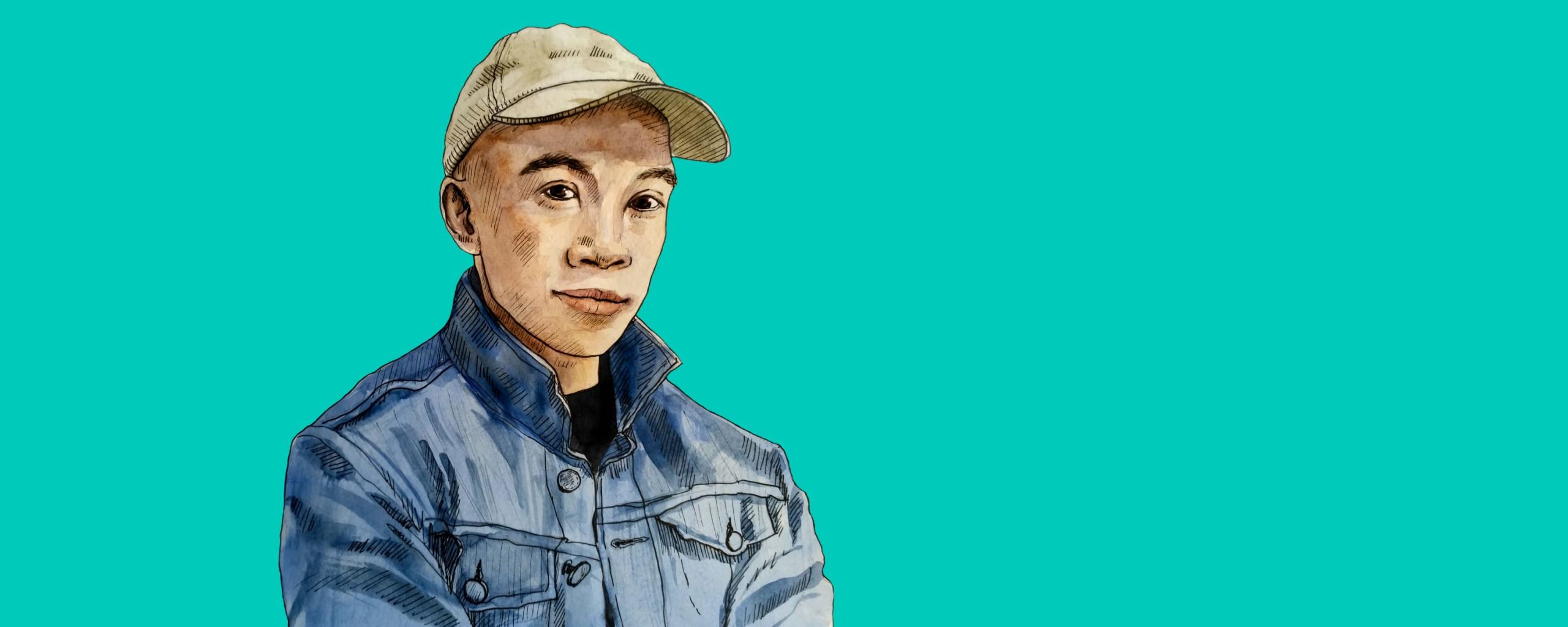 Illustrated portrait of Rich Tu