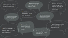 """Speech bubbles displaying statements that encourage stagnation such as """"Ask him; he's been here the longest,"""" or """"We might offend some people if we do that,"""" or """"This worked for our competition, we should do it too"""""""