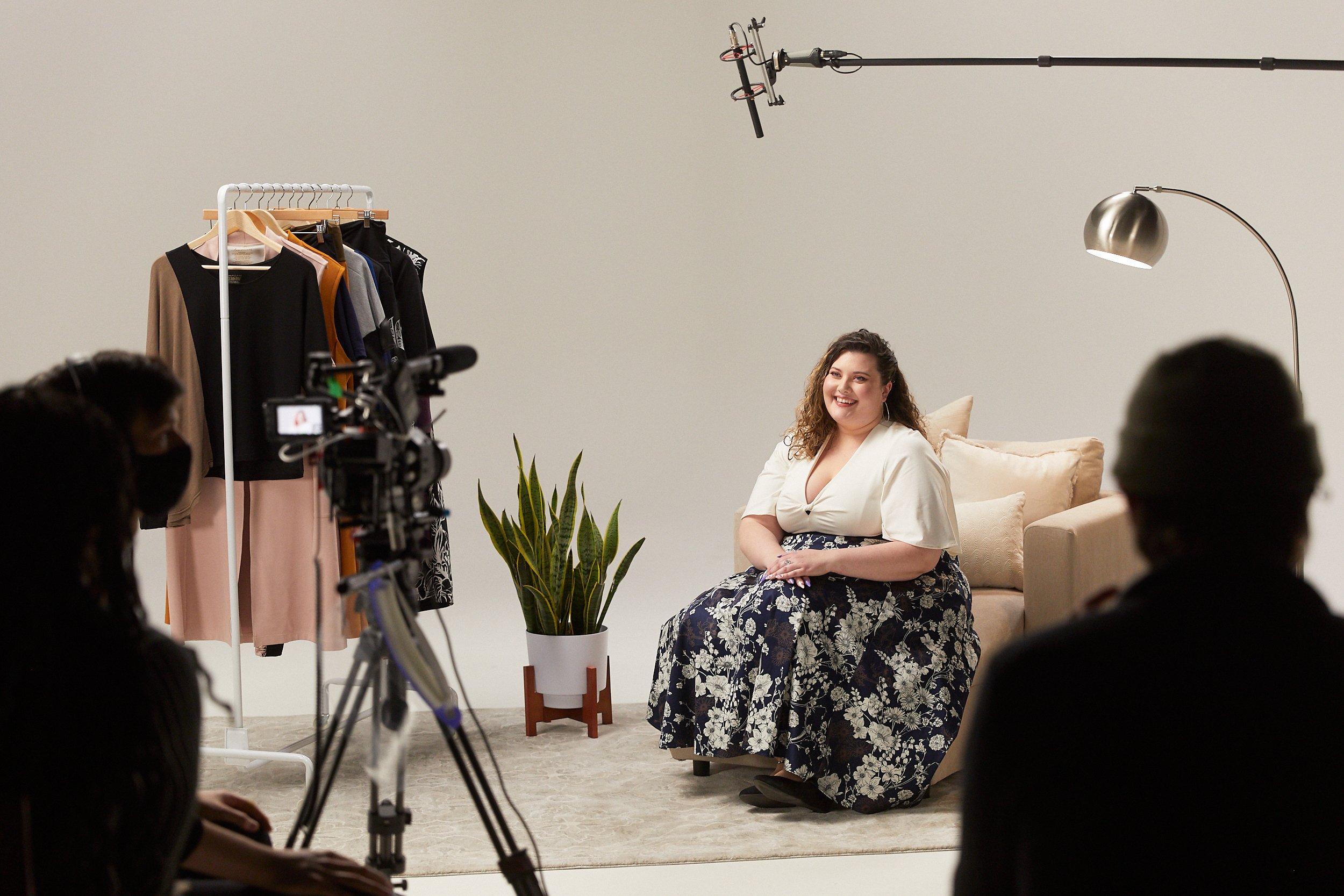 A behind the scenes photo of the crew shooting the Anne Mulaire inclusive sizing announcement.