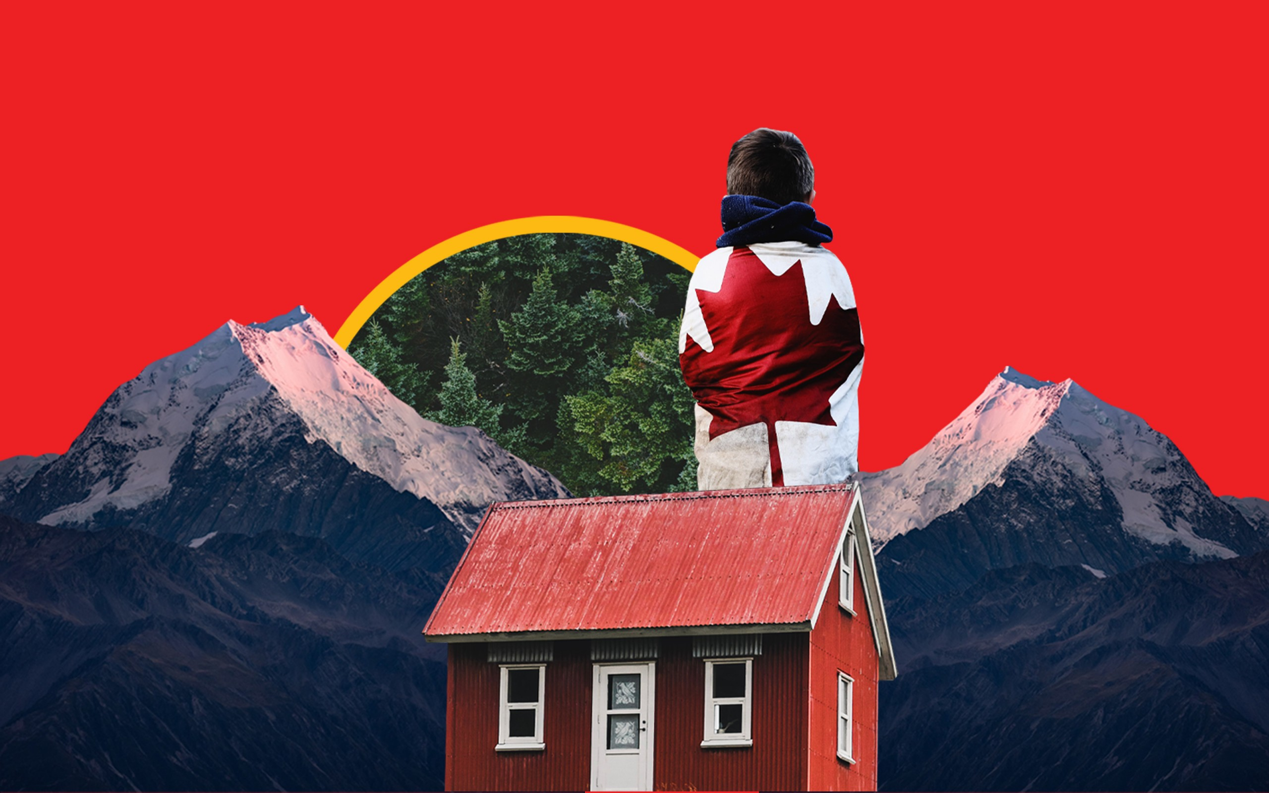 A collage of a red cabin, mountains, forests and a person wrapped in a Canadian flag.