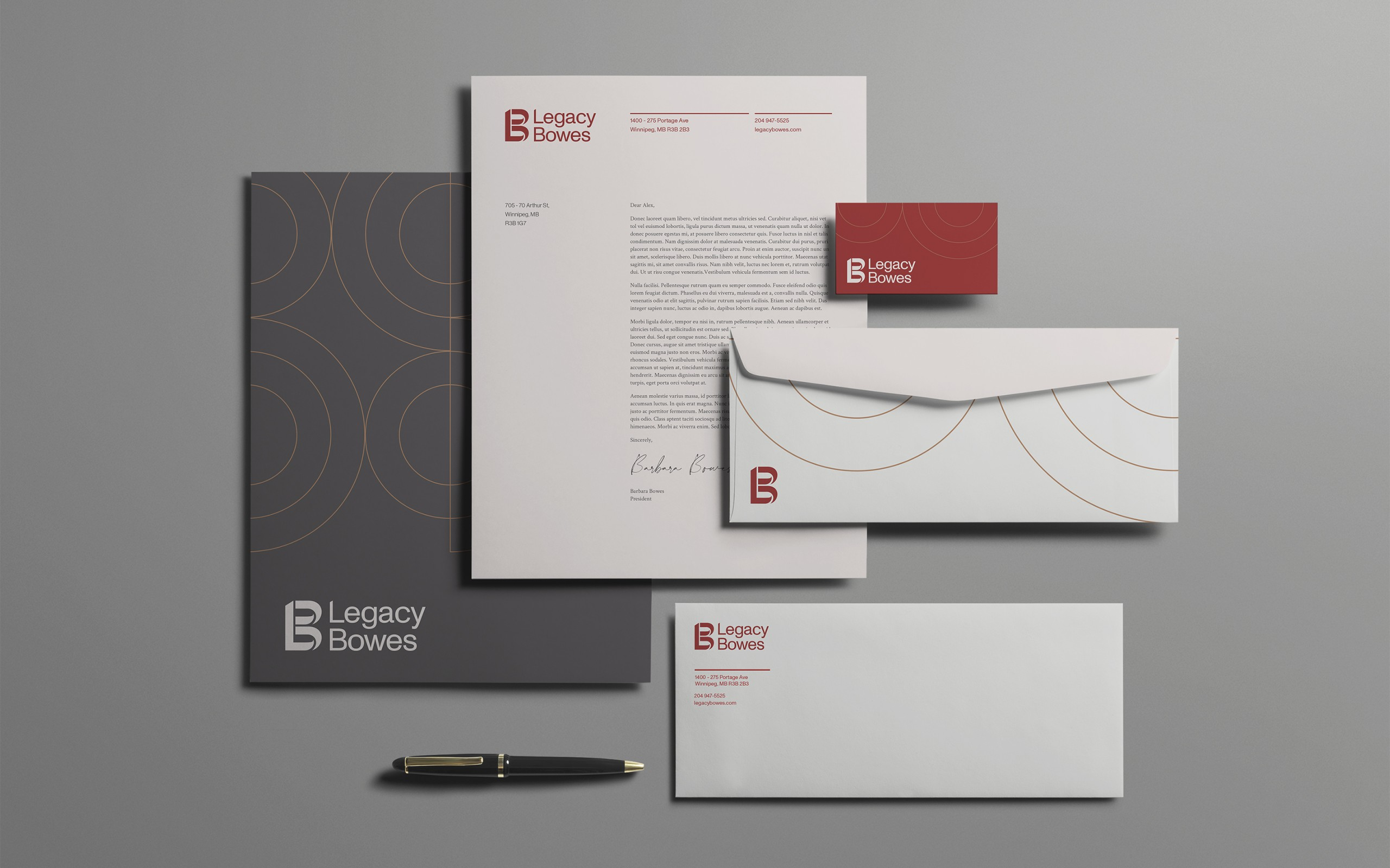 Legacy Bowes Stationary, including letterhead, envelopes and business cards.