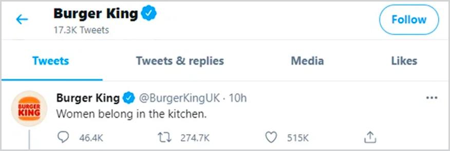 Photo of Burger King's Tweet