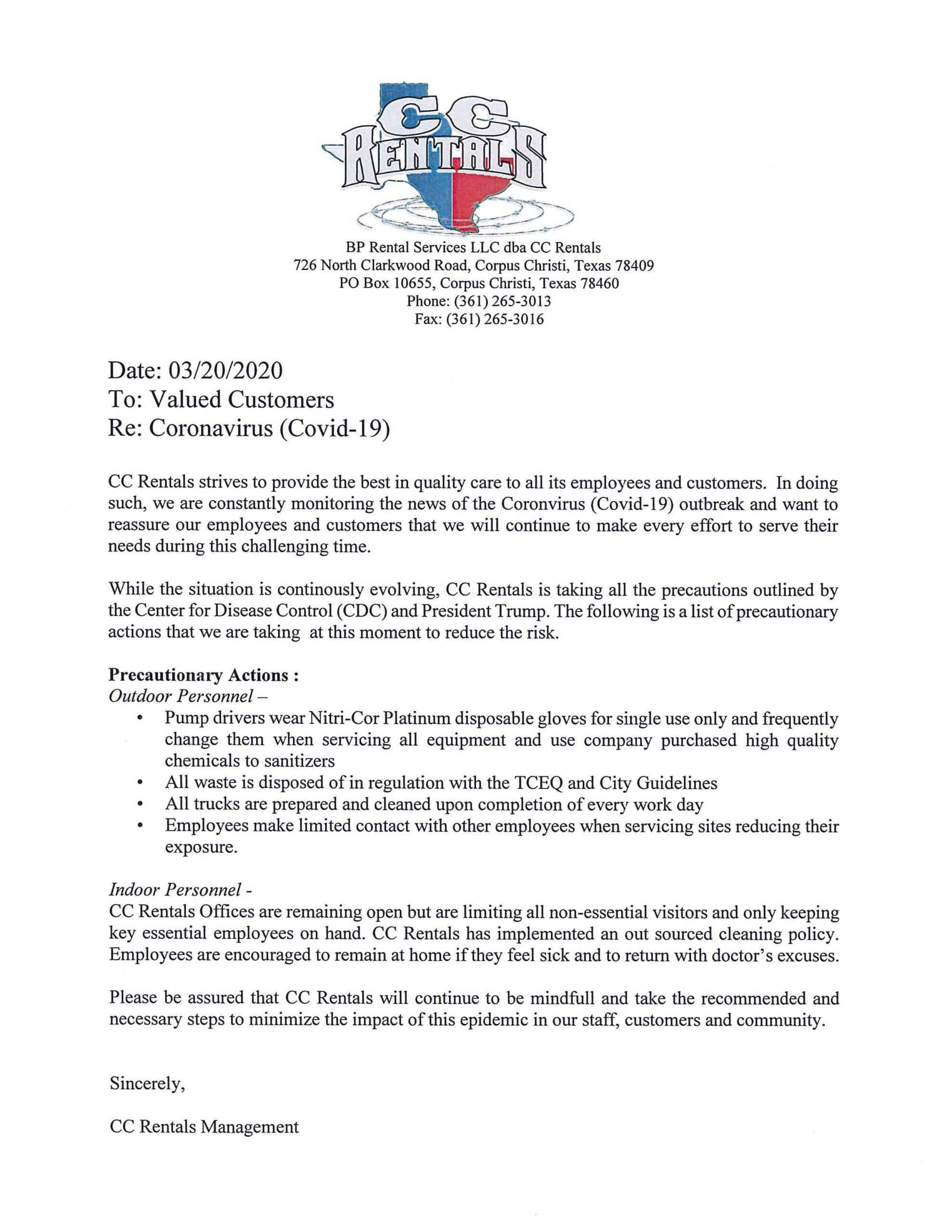 Memo on CoronaVirus to Customers 2020_0699344e-22c2-41b9-bd47-518a304d218f