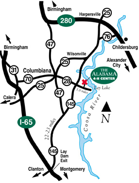 map to the Alabama 4-H Center