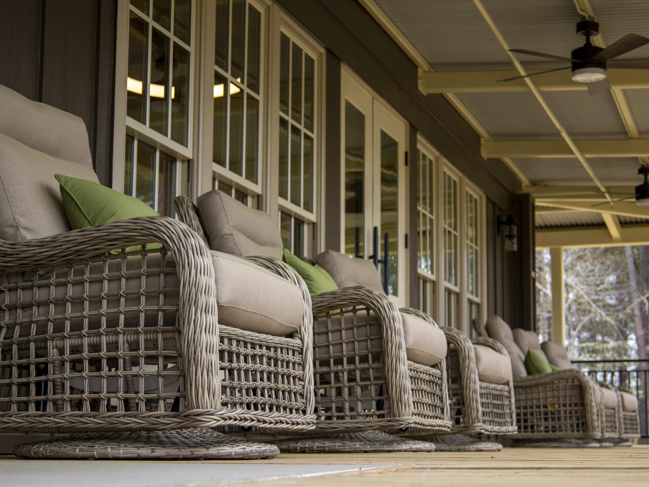wicker chairs on the porch
