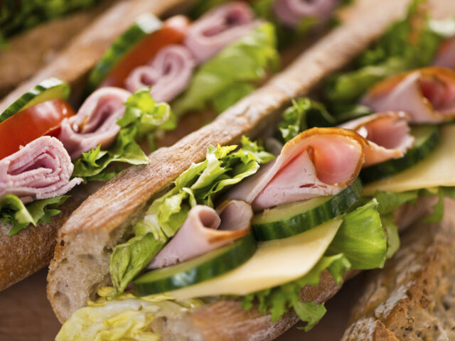Sandwiches with ham, cheese and vegetables