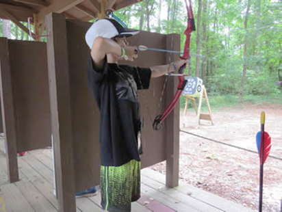 arrow notched, aimes, and ready to shoot