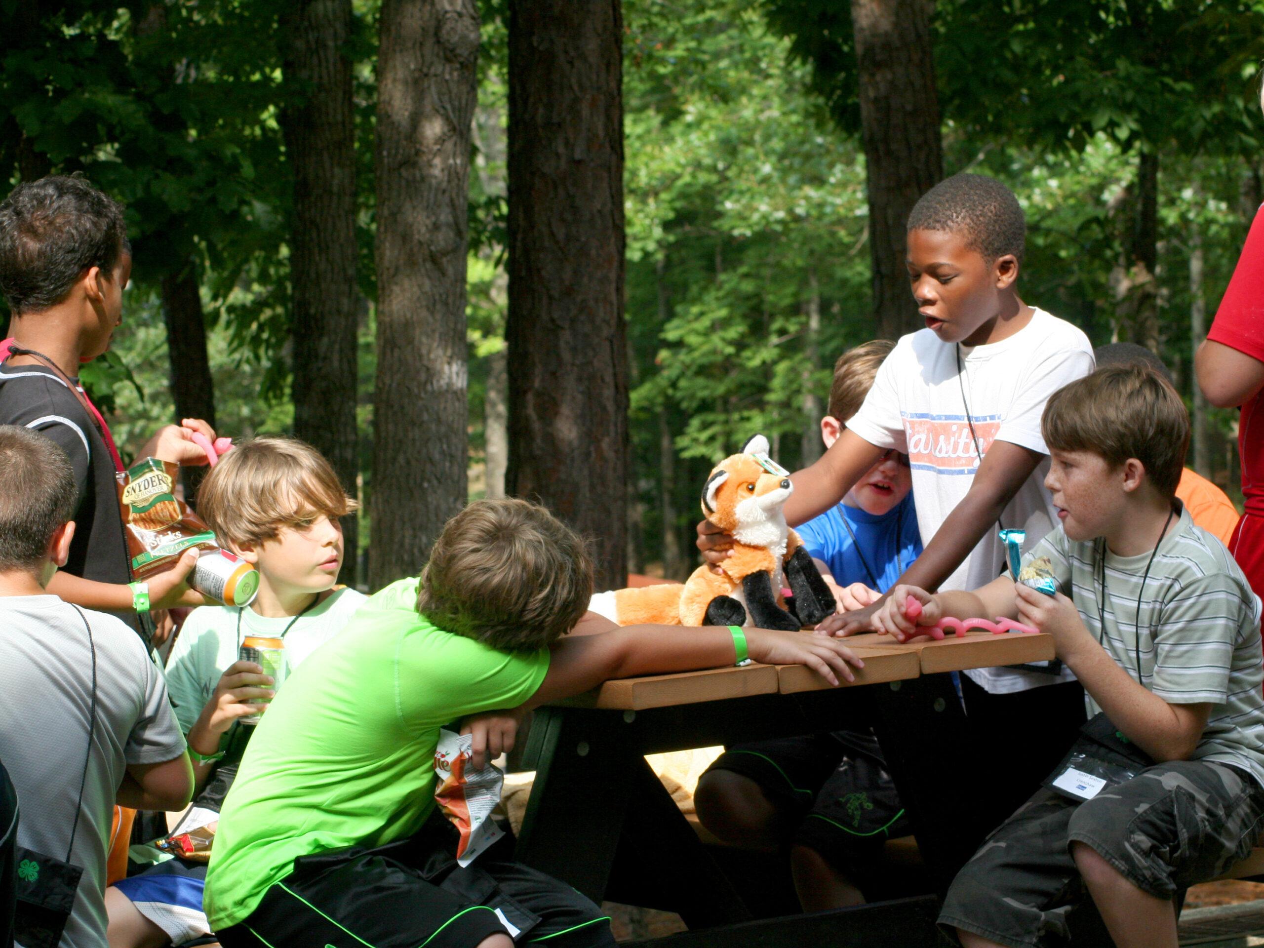 kids at a picnic table