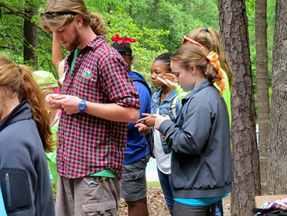 campers checking their compasses