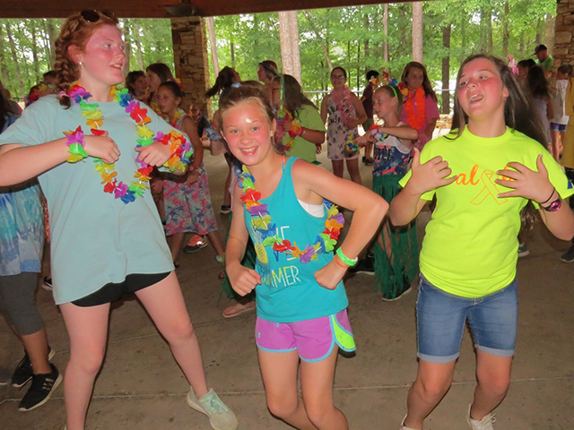 campers dancing the night away