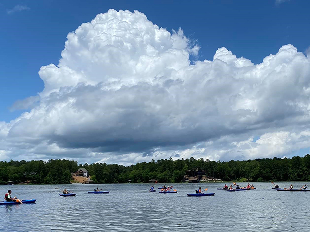 canoers and kayakers on Lay Lake
