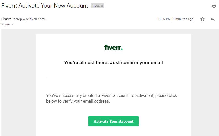 Activate fiverr account