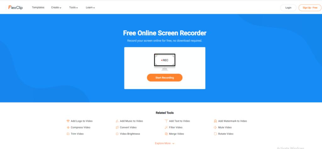 FlexClip free screen recorder