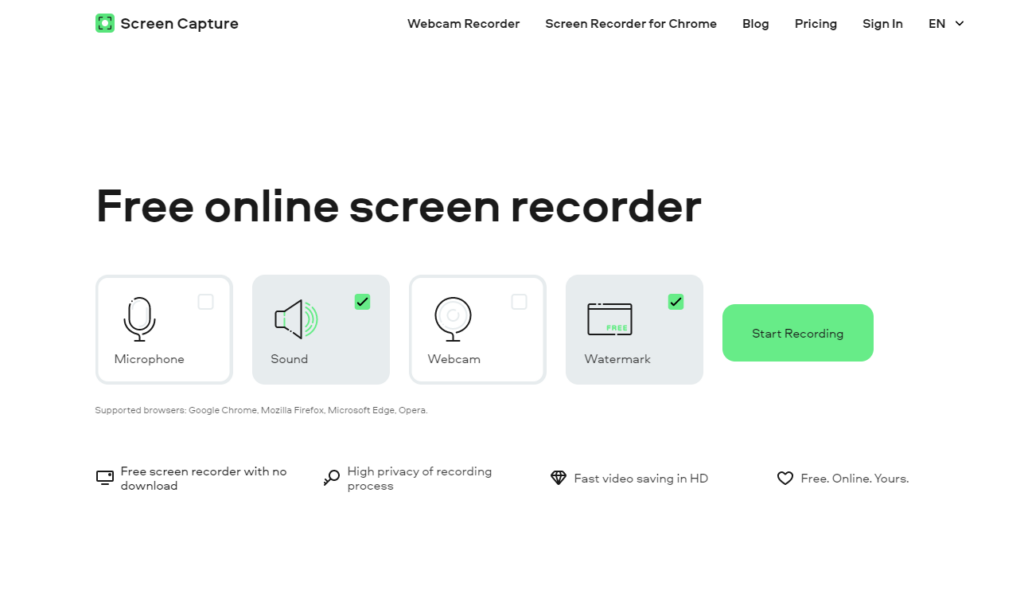 Screen Capture screen recorder no watermark